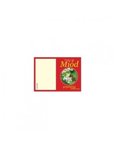 Przywieszka czerwona do słoiczków miód gryczany – 5 szt.