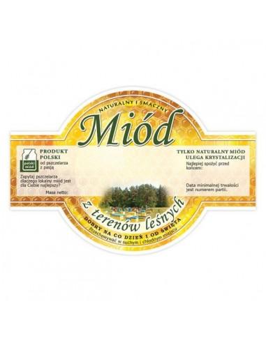 Paczka etykiet okrągłych na miód z terenów leśnych – 100 szt.