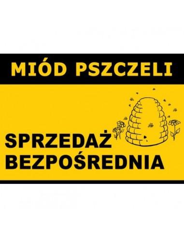 """Duża tablica ostrzegawcza - """"Miód pszczeli, sprzedaż bezpośrednia"""" - XXL"""