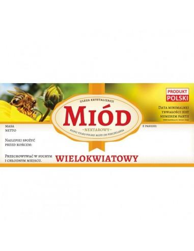 Paczka etykiet na miód wielokwiatowy (100szt)