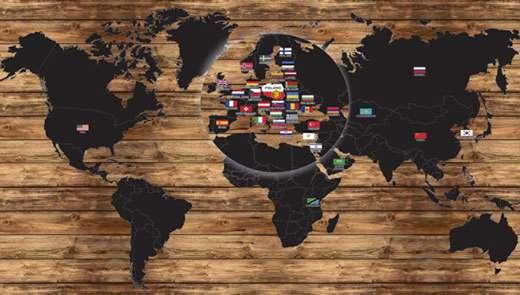 Mapa świata z naniesionymi dystrybutorami firmy Łysoń